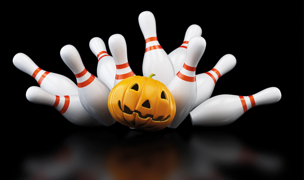 halloween bowling with a pumpkin