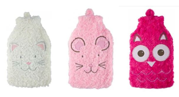 three assorted colourful range of Hot Water Bottles