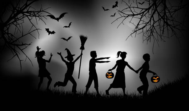 trick or treaters in a group