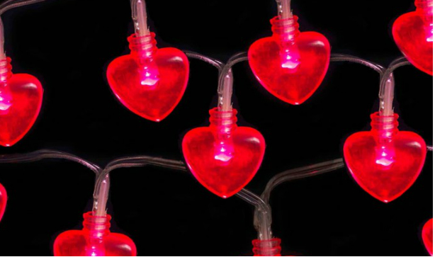 Heart string Christmas lights