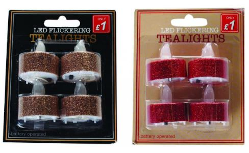 assorted range of glitter tea lights