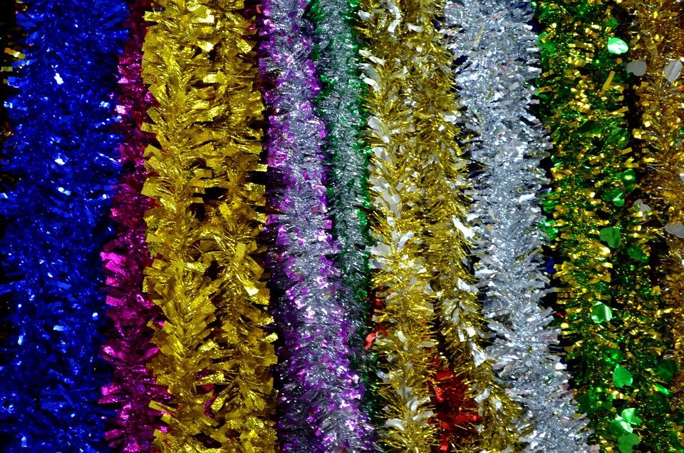 assorted colours of tinsel