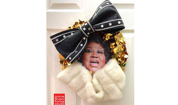 Aretha Franklin Christmas Wreath - also known as Awreatha Franklin