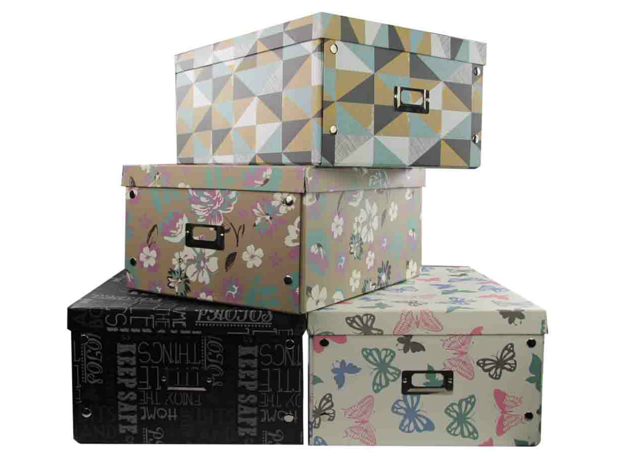 Patterned storage boxes