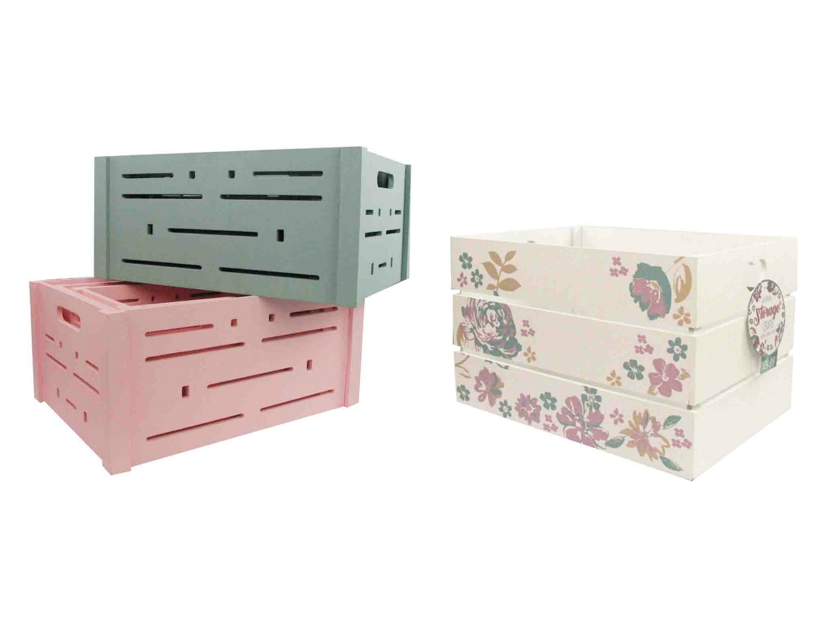 Grey, pink, and floral storage box crates