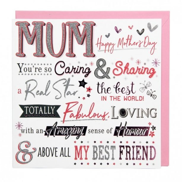 Mother's Day Glittery Word Card