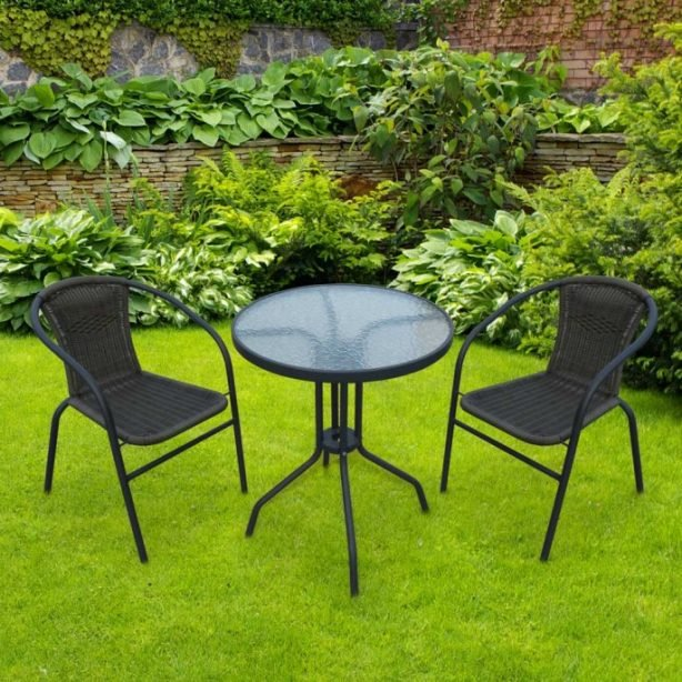 3 piece wicker bistro set in pleasant garden setting