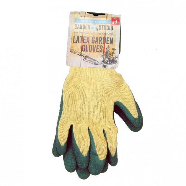 A pair of garden gloves made of latex