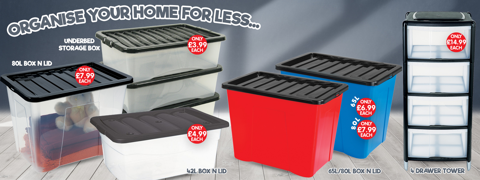 CLEAR PLASTIC TOY BOX, PACK OF 5 X 65 LITRE 65L STORAGE BOX WITH FOLDING LID