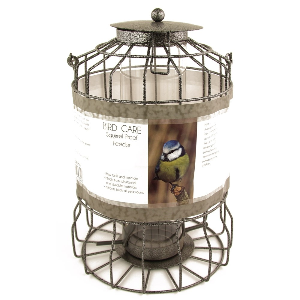 A caged seed feeder for birds available at Poundstretcher