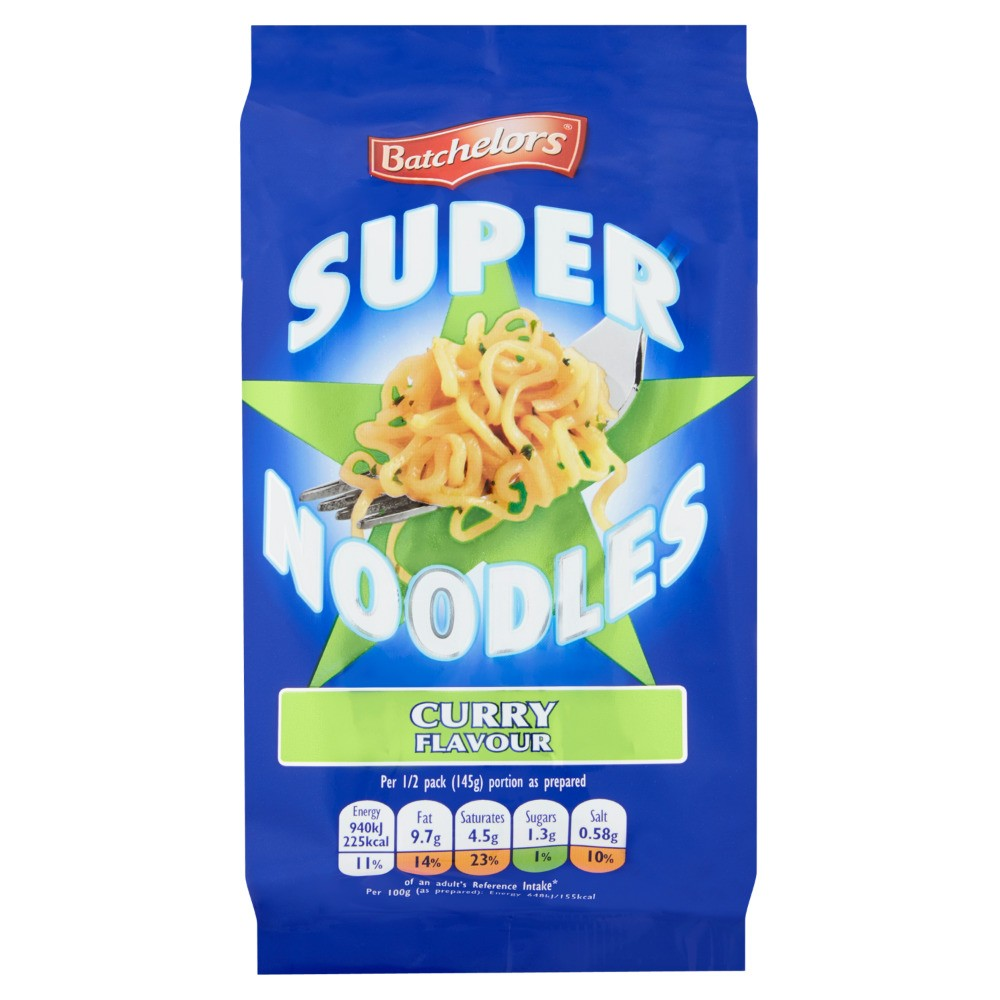 A packet of Batchelors Super Noodles in Curry Flavour