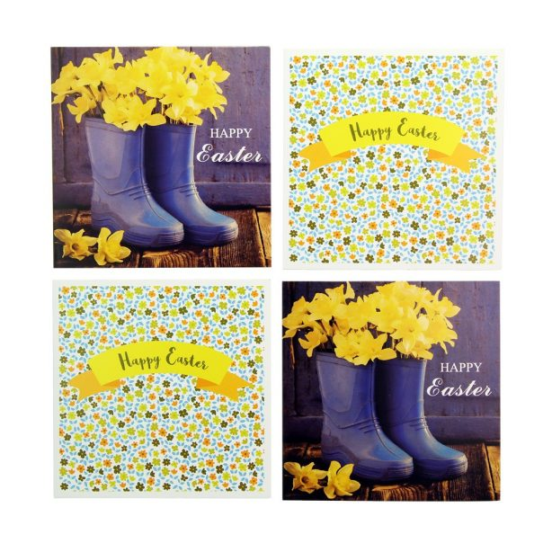 A four-pack of Floral Easter cards from Poundstretcher