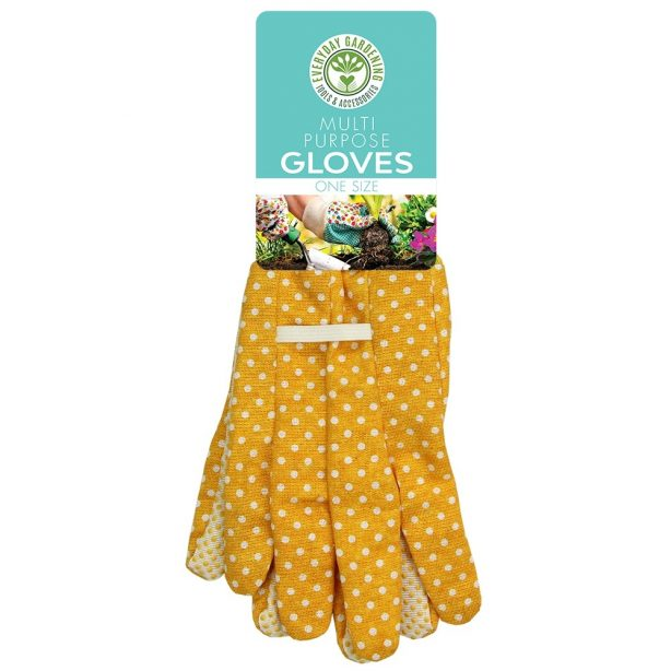 A pair of yellow gardening gloves from Poundstretcher