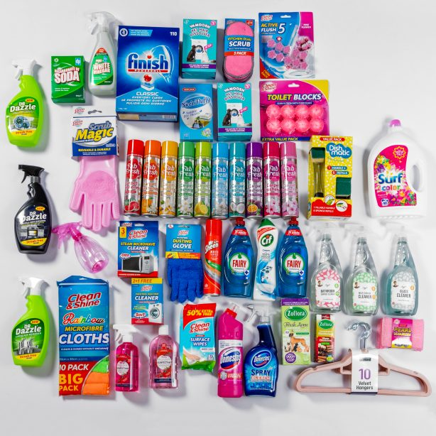 Array of cleaning products sold by Poundstretcher