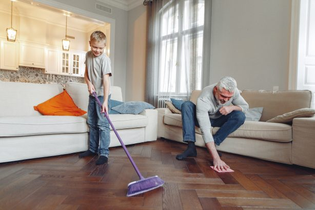 A father and son doing the spring cleaning in their home