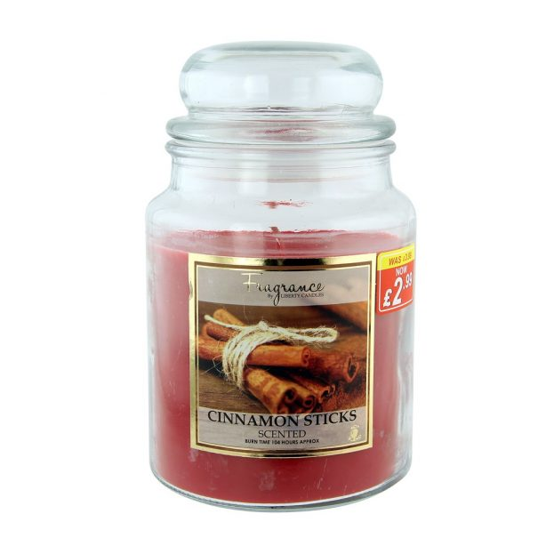 A Large Jar Candle with Cinnamon stick scent from Poundstretcher